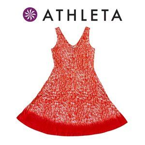 Athleta Orange & White Abstract Fit & Flare Dress